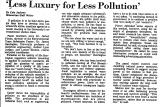 'Less Luxury for Less Pollution'