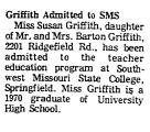 Griffith Admitted to SMS