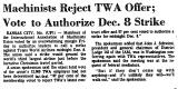 Machinists Reject TWA Offer; Vote...