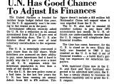 U. N. Has Good Chance to Adjust...