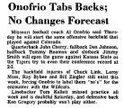 Onofrio Tabs Backs; No Changes...