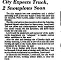 City Expects Truck, 2 Snowplos...