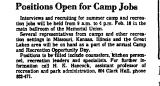 Positions Open for Camp Jobs