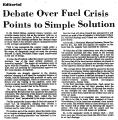 Debate over Fuel Crisis Points to...