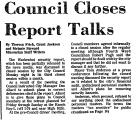 Council Closes Report Talks