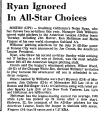 Ryan Ignored in All-Star Choices
