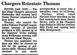 Chargers Reinstate Thomas