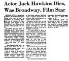 Actor Jack Hawkins Dies, Was...