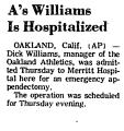 A's Williams is Hospitalized