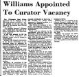 Williams Appointed to Curator...