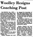 Woolley Resigns Coaching Post