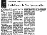 Crib Death is Not Preventable