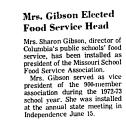 Mrs. Gibson Elected Food Service...