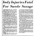 Indy Injuries Fatal for Swede...
