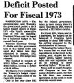 Deficit Posted for Fiscal 1973