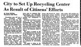 City to Set up Recycling Center...