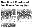 Mrs. Creed Considered for Boone...
