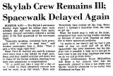 Skylab Crew Remains Ill; Space...