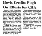 Hovis Credits Pugh on Efforts for...