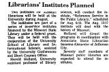 Librarians' Institutes Planned