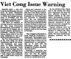 Viet Cong Issue Warning