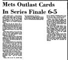 Mets Outlast Cards in Series...