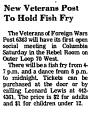 New Veterans Post to Hold Fish Fry