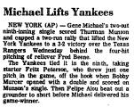 Michael Lifts Yankees