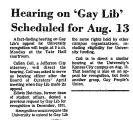Hearing on 'Gay Lib' Scheduled...