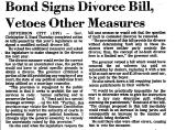Bond Signs Divorce Bill, Vetoes...