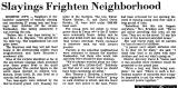 Slayings Frighten Neighborhood