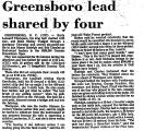 Greensboro Lead Shared by Four