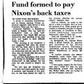 Fund Formed to Pay Nixon's Back...