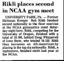 Rikli Places Second in NCAA Gym...