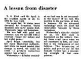 A Lesson from Disaster