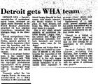 Detroit Gets WHA Team