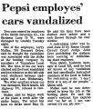 Pepsi Employes' Cars Vandalized