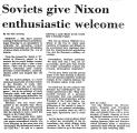 Soviets Give Nixon Enthusiastic...