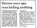 Owner Says Spa Was Hiding Nothing
