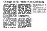 College Holds Summer Homecoming