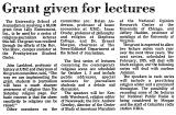 Grant Given for Lectures