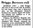 Briggs, Brewers Roll