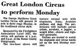 Great London Circus to Perform...