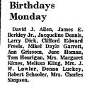 Birthdays Monday