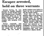 Escapee Arrested, Held on Three...