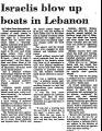 Israelis Blow up Boats in Lebanon