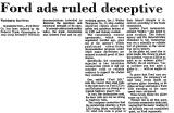 Ford Ads Ruled Deceptive