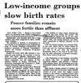 Low-Income Groups Slow Birth Rates