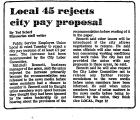 Local 45 Rejects City Pay Proposal