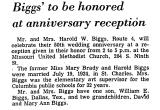 Biggs' to be Honored at...